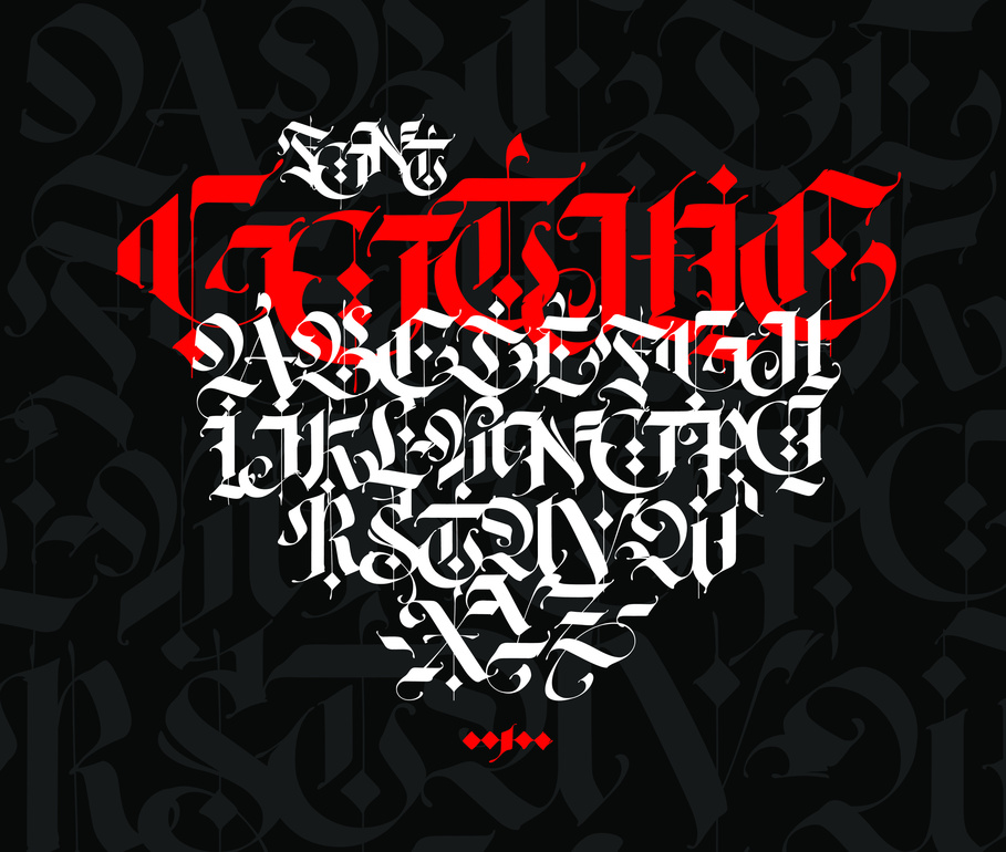 Gothic style alphabet-Ancient-Germanic-style